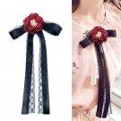 Black Ribbon Red Rose Flower Women Necktie Tie Wedding Brooch Pin