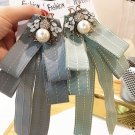 Pale Blue Green Pearl Bee Crystal Fashion Ladies Pre Tied Bow Brooch Pin