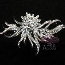 Bridal Rhinestone Crystal Silver Tone Hair Craft Brooch Pin Wedding Jewelry