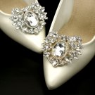 Bridal Rhinestone Crystal Silver Gold Vintage Style Wedding Shoe Clips Pair