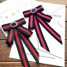 Red Blue Green Vintage Crystal Fashion Ladies Men Pre Tied Bow Brooch Pin