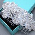 Feather Rhinestone Applique Crystal Bridal Leaf Hair Comb Wedding Headpiece