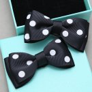 A Pair Fashion Black White Dot Circle Women Ladies Ribbon Bow Shoe Clips