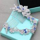 Flower Royal Blue Rhinestone Crystal Bridal Hair Comb Long Wedding Headpiece
