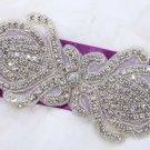 Beaded Rhinestone Crystal Wedding Dress Sash Belt Iron Sew Applique DIY