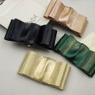 A Pair of Gold Peach Green Black Color Ribbon Bow Fashion Ladies Shoe Clips