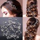 Wedding Bridal Vintage Silver Leaf Pearl Vine Headpiece Hair Piece