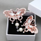 1pc Butterfly Rhinestone Crystal Dangle Pearl Rose Gold Wedding Bridal Hair Clip