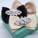 2 pcs - Fashion Rhinestone Crystal Fibre Bow Crystal Summer Wedding Shoe Clips