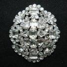 CZECH REPUBLIC Rhinestone Crystal Oval Cake Wedding Brooch Pin