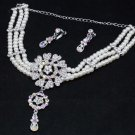 Rhinestone Crystal Faux Pearl Bridal Necklace Earrings Wedding Jewelry Set
