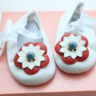 Infant Newborn Baby Girl Red Flower White Crib Shoes (Size 12-18mths)