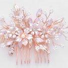 Rose Gold Wedding Bridal Crystal Flower White Beads Headpiece Hair Comb