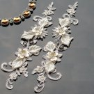 1 Pair Off White Bridal Wedding Flower Floral Crystal Rhinestone Lace Applique
