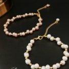Wedding Stone Genuine Stone Freshwater Pearl Gold Chain Bracelet