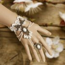 A Pair Wedding Party White Cream Flower Lace Slave Bracelet With Ring Gloves