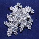 Wedding Rhinestone Jewelry Bridal Crystal Leaf Flower Brooch Pin