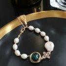 Wedding Stone Genuine Green Stone Freshwater Pearl Gold Tassel Chain Bracelet