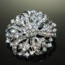 Crystal Rhinestone Round Cake Bridal Flower Wedding Brooch Pin