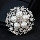 3 Pieces Wedding Bridal Crystal Faux Pearl Silver Gold Flower Brooch Pin