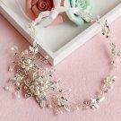 Ivory Pearl Flower Bridal Rhinestone Crystal Leaf Silver Hair Wedding Tiara