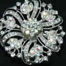 Wedding Rhinestone Aurora Crystal Flower Cake Decoration Brooch Pin Jewelry
