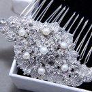 Freshwater Pearl Wedding Bridal Crystal Rhinestones  Hair Comb Headpiece