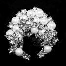 Cream White Pearl Silver Tone Flower Moon Crystal Rhinestone Wedding Brooch Pin