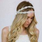 Vintage White Ribbon Crystal Clear Rhinestone Beaded Applique Wedding Headband