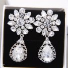 Vintage Silver Bride Teardrop Rhinestone Crystal Earrings Wedding Jewelry