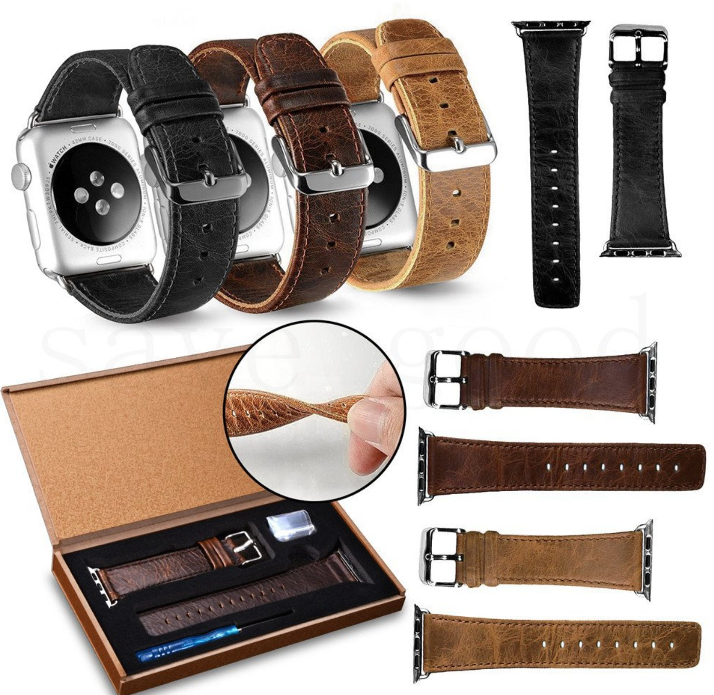 Apple Watch Band Black Brown Leather Strap Bracelet Wristwatch iWatch Watch Band
