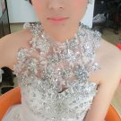 Crystal Rhinestone Wedding Bridal Lace Halter Chain Shoulder Halter Necklace