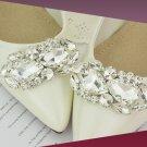 A Pair Of Wedding Bridal Teardrop Rhinestone Crystal Oval Silver Shoe Clips