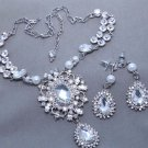 Vintage Bridal Jewelry Pearl Necklace Earrings WeddingTeardrop Jewelry Set