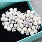 Ivory Pearl Rhinestone Crystal Wedding Flower Snowflake Crystal Shoe Clips Pair