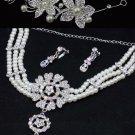 Wedding Flower Tiara Bridal Pearl Crystal Necklace Earrings Jewelry Set