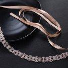 Bridal Wedding Gown Chain Rose Gold Tone Clear Rhinestone Crystal Sash Belt