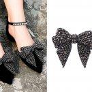 2 Pcs Beads Rhinestone Crystals Wedding Large Black Bow Shoe Clips