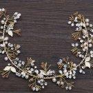 Wedding Bridal Hair Tiara Beaded Flower Gold Silver Leaf Metal Headpiece