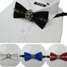 Christmas Crystal Stone Rhinestone Wedding Men Pre Tied Bow Tie Neck Tie