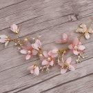 Wedding Bridal Vintage Gold Leaf Headpiece Pink Flower Pearl Tiara Hair Piece