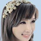 Bridal Ivory Pearl Vintage Gold Tone Wedding Headband Bride Hair Accessories