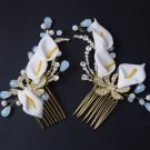 A Set Lily Flower Gold Tone Crystal Headpiece Hair Comb Wedding Accessories