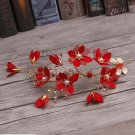 Bridal Vintage Gold Leaf Red Flower Pearl Tiara Wedding Headpiece Hair Piece