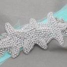 Crystal Applique Embellishment Starfish Star Beach Wedding Bridal Sash Belt