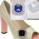 A Pair of Colorful Acrylic Rhinestone Crystal Wedding Bridal Shoe Clips