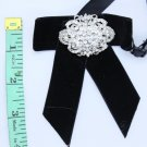 Black Velvet Rhinestone Crystal Wedding Pre Tied Bow Tie Neck Tie Brooch Pin