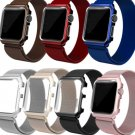Apple Watch Replacement Band Stainless Steel Rose Gold Rainbow With Frame