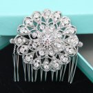 Round Flower Bridal Rhinestone Comb Vintage Wedding Crystal Hair Comb Headpiece