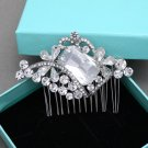 Rhombus Vintage Rhinestone Crystal Silver Tone Butterfly Wedding Hair Comb